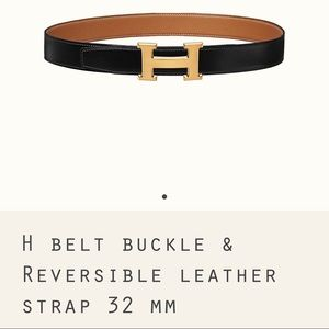 Hermès reversible belt noir gold